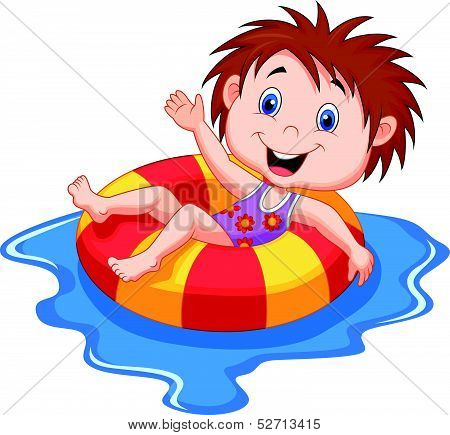 Girl cartoon floating on an inflatable circle in the pool