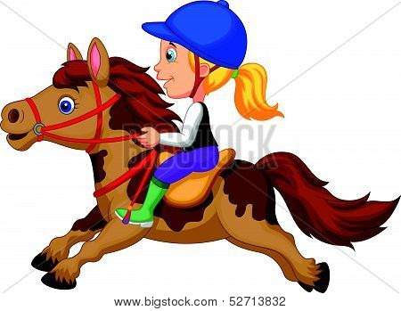 Cartoon Little girl riding a pony horse