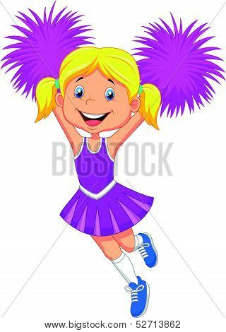 Cartoon Cheerleader with Pom Poms