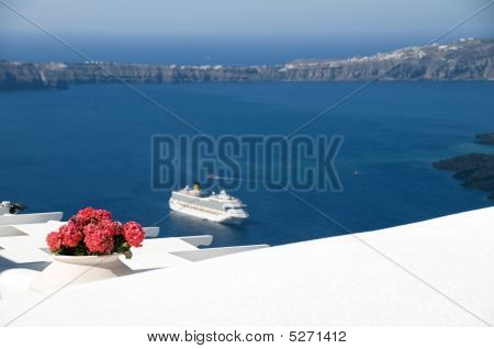 View  Volcanic Islands Of Santorini With Cruise Ship
