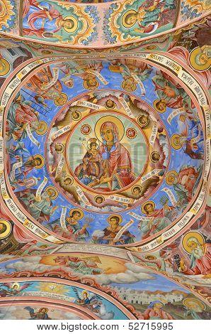 Wall painting at Rila Monastery church