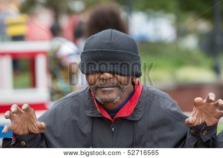Happy African American Homeless Man