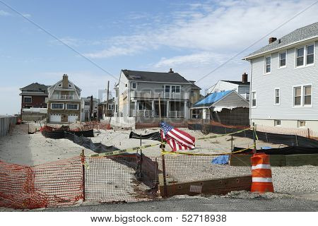 Destroyed beach property in devastated area one year after Hurricane Sandy