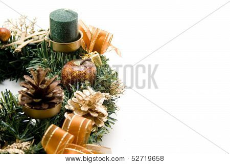 Advent wreath with wax candle
