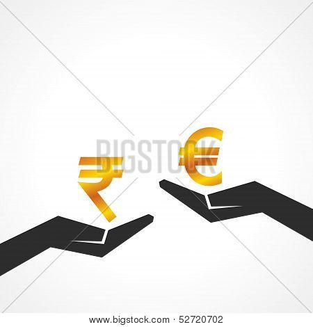 Hand hold rupee and euro symbol to compare their value stock vector