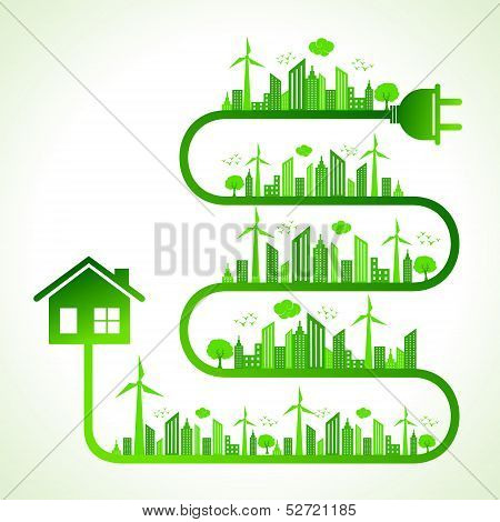 Illustration of ecology concept with home- save nature