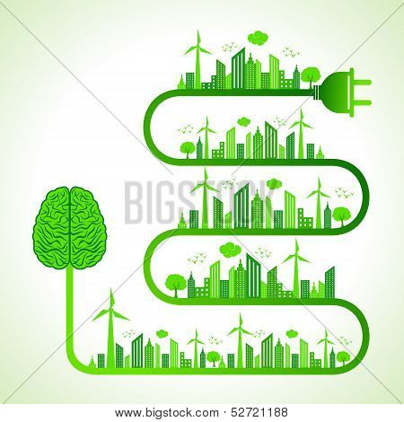 Illustration of ecology concept with brain- save nature