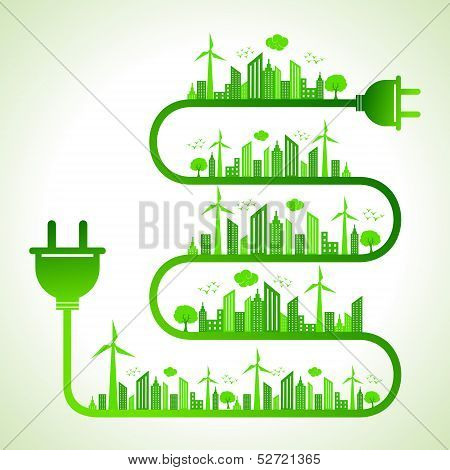 Illustration of ecology concept with electric plug - save nature
