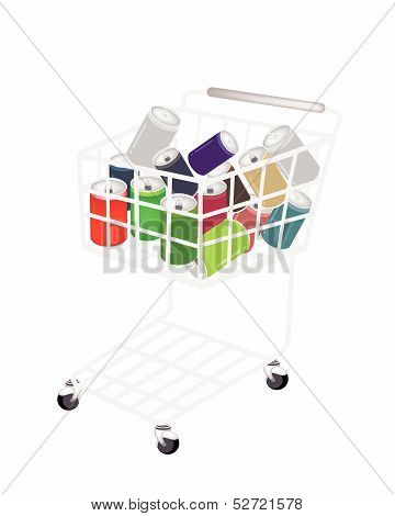 Colorful Soda Cans In A Shopping Cart