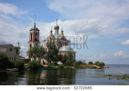 Forty Martyrs Church in the mouth of the river Trubezh. Golden ring of Russia
