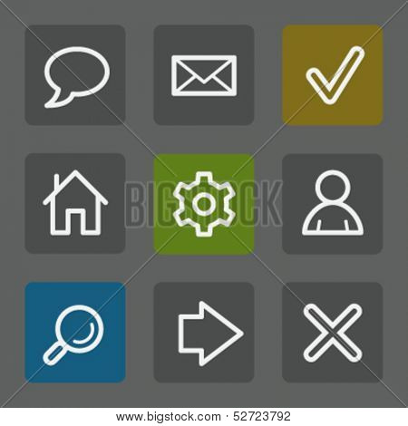 Basic web icons, flat buttons