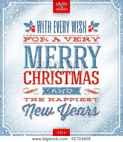 Vector Christmas greeting card - holidays lettering on a winter snow background