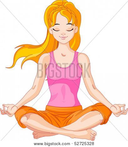 Beautiful girl doing yoga meditation