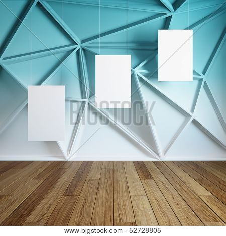 Blank of empty frames in abstract modern interior room