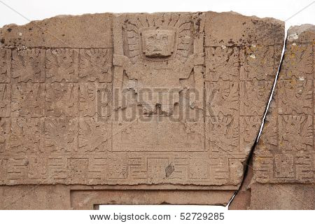 The Gate of the Sun with Viracocha god, Tiwanaku, Bolivia