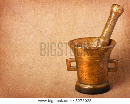 Old Bronze Mortar