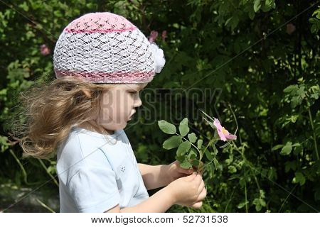 Beautiful Little Girl In White Hat Holds Pink Briar On Sunny Day.