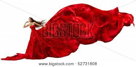 Woman In Red  Dress With Flying Fabric Waving Beautiful Over White Background