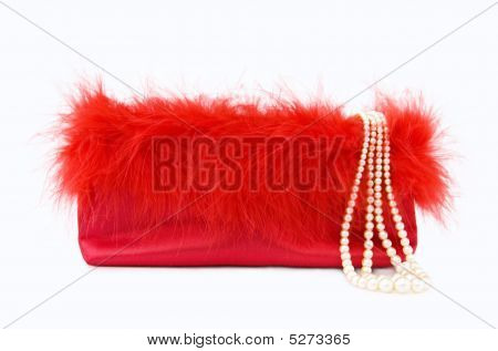 Party Glamour - Red Silk Evening Purse With Pearls