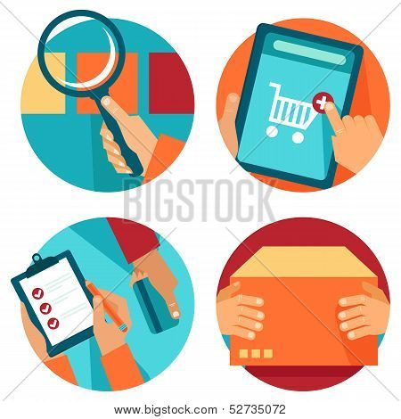 Vector Internet Shopping Icons In Flat Style