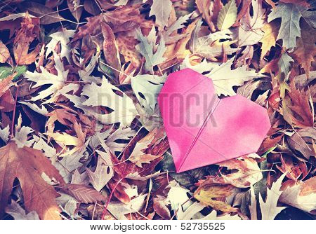a discarded paper heart vintage toned