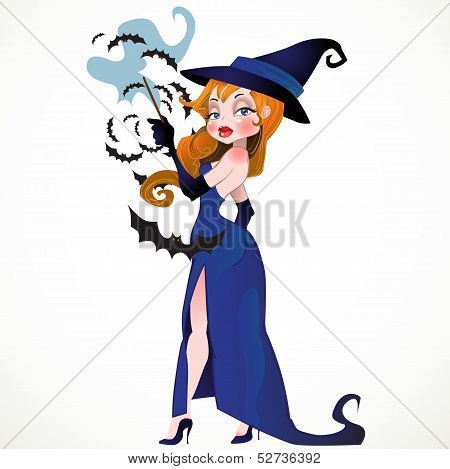 Witch with bat