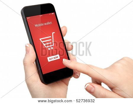 Isolated Woman Hands Holding A Phone And Make Online Shopping