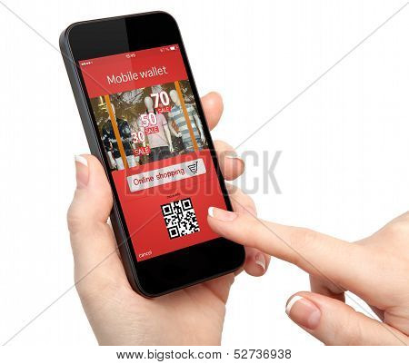 Woman Hand Holding The Phone With Onlain Shopping On The Screen