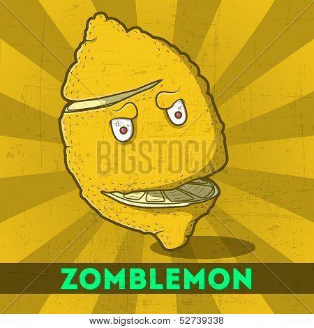 Funny Cartoon Zomblemon On The Retro Background
