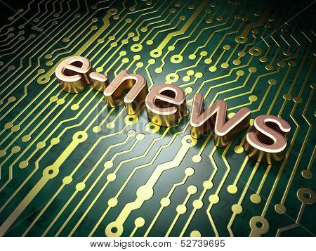 News concept: E-news on circuit board background