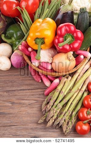 assorted of raw vegetable on wood