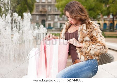 Young Brunette Shopping Woman.