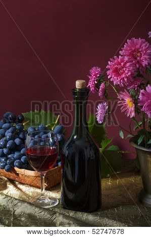 Still Life With Fruit And A Bottle Of Wine