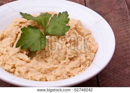 a bowl of hummus