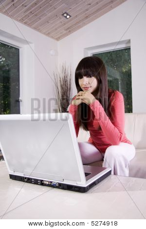 Woman On A Sofa Using A Laptop