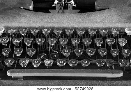 Monochrome Typewriter Keyboard Closeup