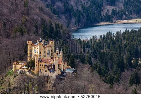 Hohenschwangau Castle (Schloss Hohenschwangau), Alpsee and Schwansee - aerial view from Neuschwanstein Castle. Bavaria, Germany