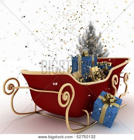 Christmas sledges of Santa with gifts, of confetti and christmas tree on a white background