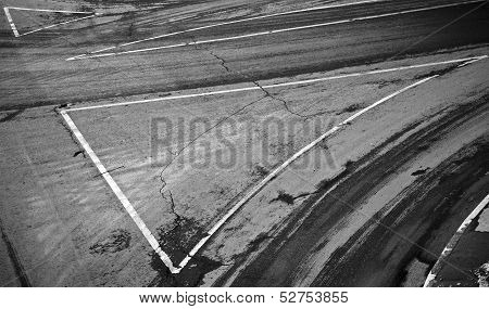 Road Background With Details Of Road Marking And Tires Track