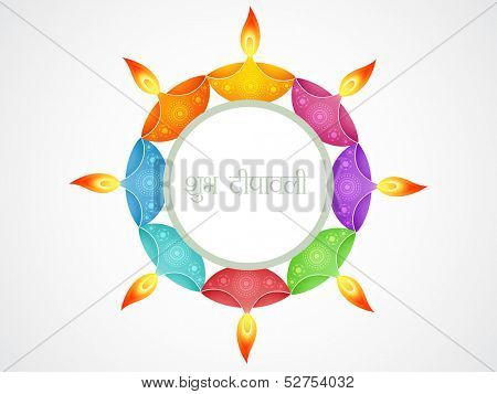 beautiful happy shubh diwali (translation: happy diwali) vector greeting