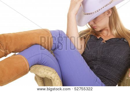 Woman Cowgirl Purple Hat Sit Close