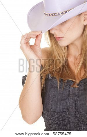 Woman Purple Cowgirl Hat Look Down Side