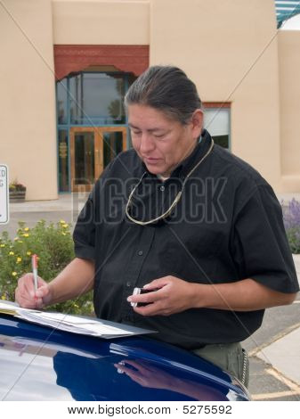 Native American Man Writing Notes
