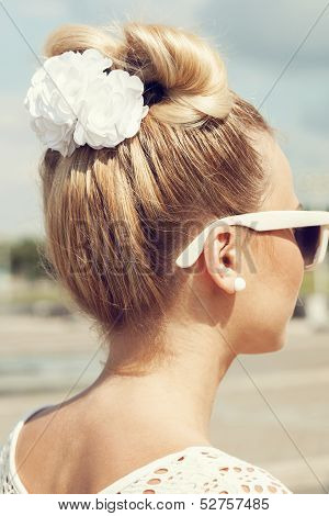 Beautiful Girl With Bow Coiffure