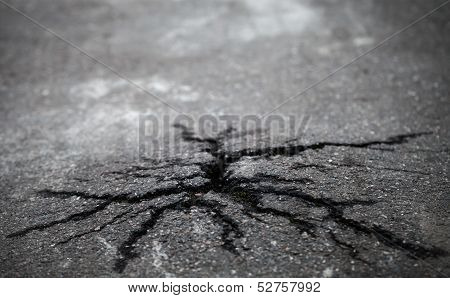 Closeup Photo Of Natural Cracks On Old Asphalt Road