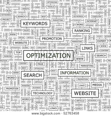 OPTIMIZATION. Seamless pattern. Word cloud illustration. Vector illustration.