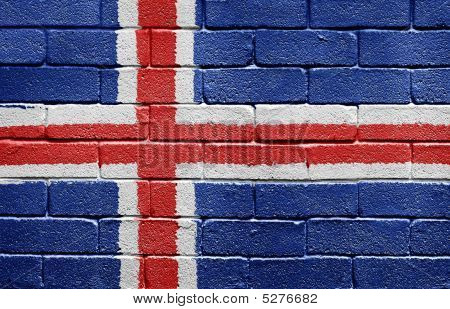 Flag Of Iceland On Brick Wall