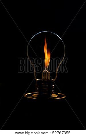 Fire  In Ide The Light Bulb. Concept For Energy Consumption And Environmental Awareness