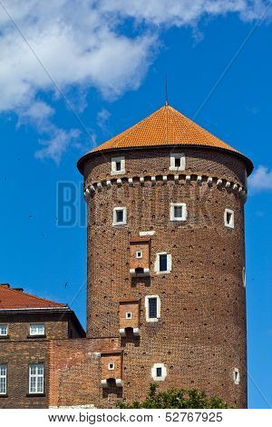 view on wawel  royal castle with sandomierska tower in cracow in Poland