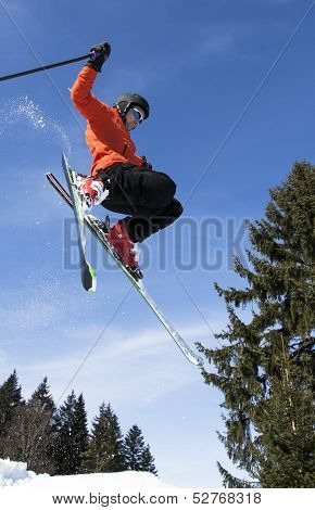 freeskier in a jump